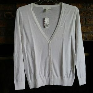 NWT forever 21 white long sleeved vneck cardigan